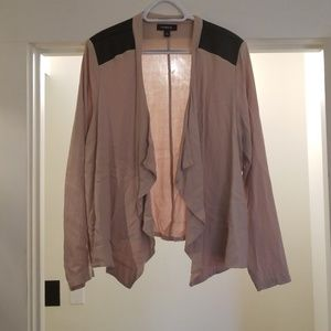 Tan cardigan with fake leather shoulders